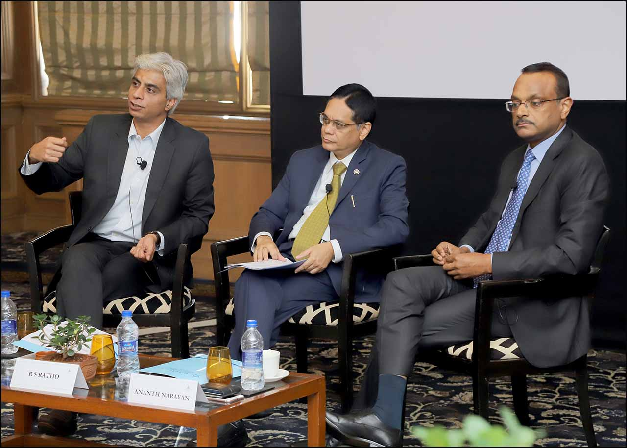 L:R - Neeraj Gambhir, Radha Shyam Ratho CGM, RBI and Ananth Narayan, Associate Professor, Finance, SPJIMR